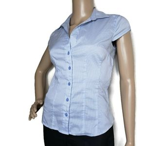 H&M size 4 pin stripe button up cap sleeve shirt